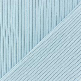 Tissu jersey tubulaire bord-côte 3/3 - bleu ciel x 10cm