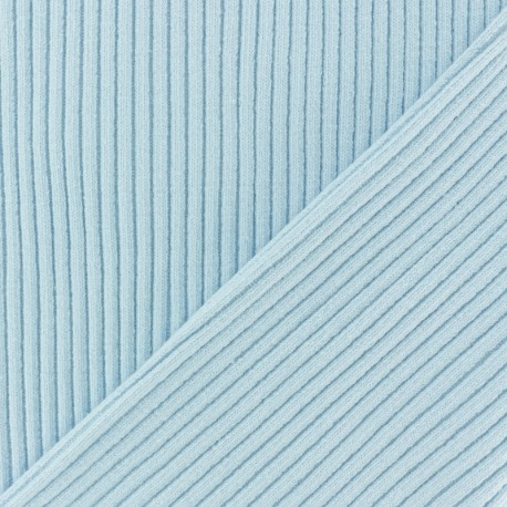 Knitted Jersey 3/3 tubular edging fabric - sky blue x 10 cm