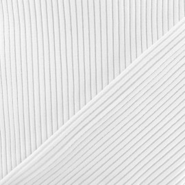 Knitted Jersey 3/3 tubular edging fabric - white  x 10 cm