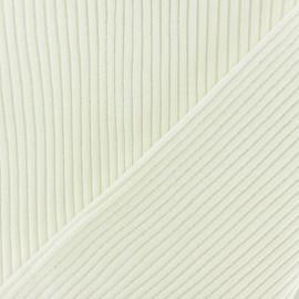 Tissu jersey tubulaire bord-côte 3/3 - blanc cassé x 10cm
