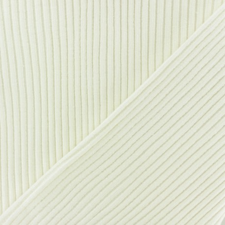 Knitted Jersey 3/3 tubular edging fabric - off-white x 10 cm