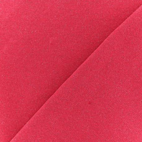 French terry fabric - Glittery Fuchsia Pink x 10cm