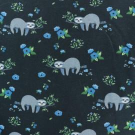 Tissu jersey Paresseux - bleu gris x 10cm