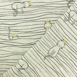 Tissu sweat léger molletonné Chat sur un fil - écru x 10cm