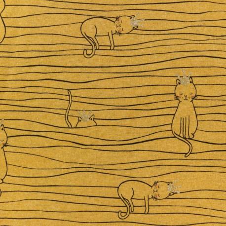 Tissu sweat léger molletonné Chat sur un fil - jaune moutarde x 10cm