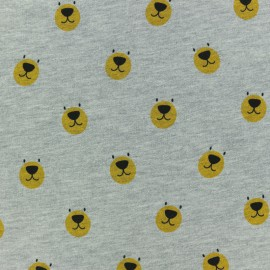 Tissu sweat léger molletonné Teddy - gris chiné x 10cm