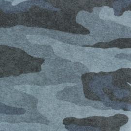 Tissu sweat léger molletonné Camouflage - bleu x 10cm