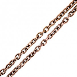 Metal chain, 7-8 mm link size - pearly copper