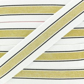 40 mm Belt Elastic Ribbon - White/Gold Just Dance x 1m