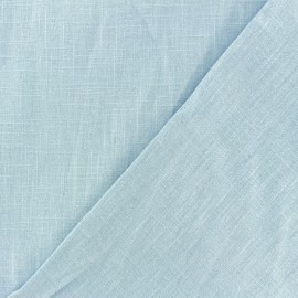 Tissu lin lavé (laize: 135cm) - bleu Houle x 10cm