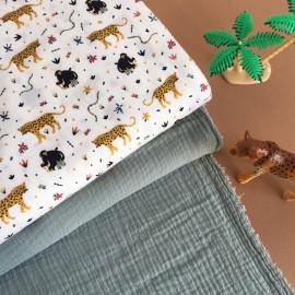 Poplin Cotton fabric - off-white Banana Monkey x 10cm