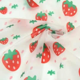 Transparent Special rain waterproof fabric - Strawberry x 10cm