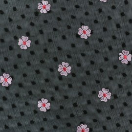 Embroidered Polyester Crêpe Fabric - black x 50cm