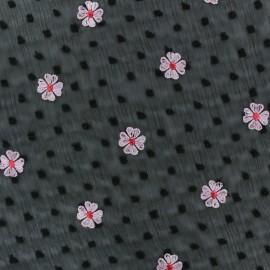Tissu crêpe plumetis et fleurs brodées - noir x 50cm
