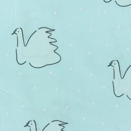 ♥ Coupon 250 cm X 145 cm ♥ Cotton voile Fabric - blue Swan