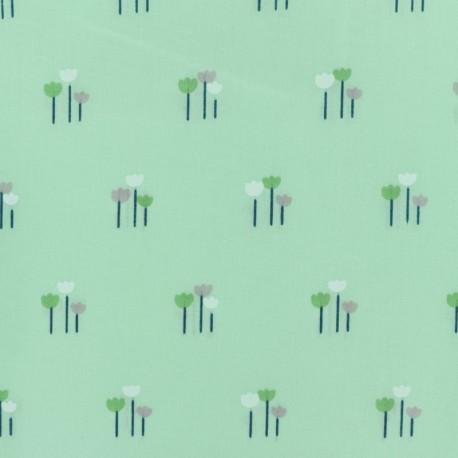 Cotton voile Fabric - green Daisy x 10cm