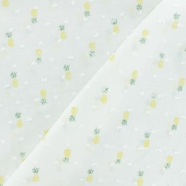 Plumetis Cotton Fabric - white Pineapple x 10cm