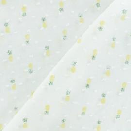Tissu Plumetis voile de coton Ananas - blanc x 10cm