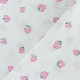 Plumetis Cotton Fabric - white Strawberry x 10cm