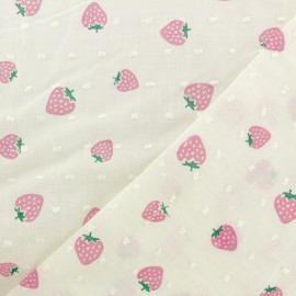 Plumetis Cotton Fabric - yellow Strawberry x 10cm