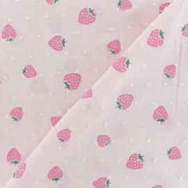 Plumetis Cotton Fabric - pink Strawberry x 10cm