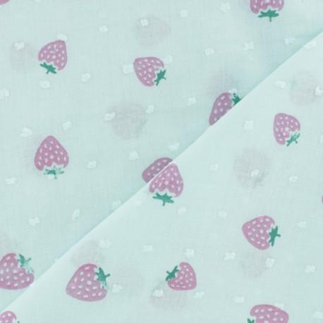 Tissu Plumetis voile de coton Fraise - rose x 10cm