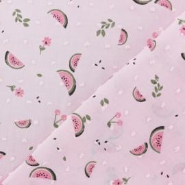 Tissu Plumetis voile de coton Pastèque - rose x 10cm