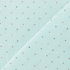 dotted Plumetis Cotton Fabric - light blue x 10cm