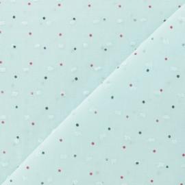 Tissu Plumetis voile de coton à pois - bleu ciel x 10cm