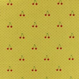 Tissu coton lavé Cherry - jaune moutarde x 10cm