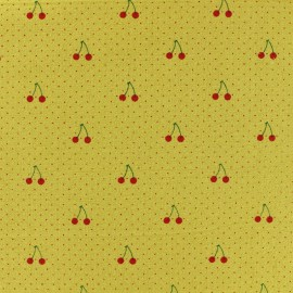 Washed cotton fabric - Mustard Yellow Cherry x 10cm