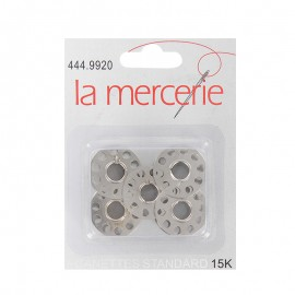 A pack of 5 metal machine bobbins 15 K - silver
