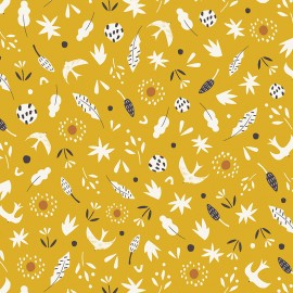 Cotton Dashwood fabric - yellow Hanging Around x 10cm