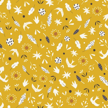 Tissu coton Dashwood Hanging Around - jaune x 10cm