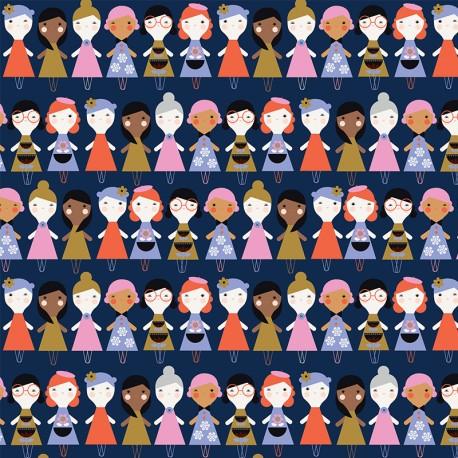 Tissu coton Dashwood Amélie Poupée - marine x 10cm