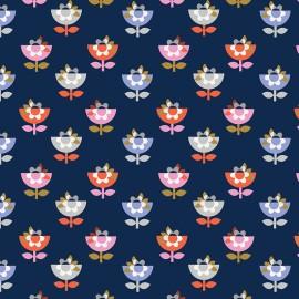 Tissu coton Dashwood Amélie fleur - marine x 10cm