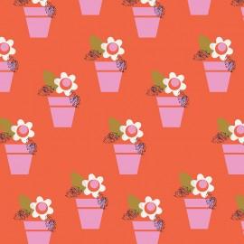 Cotton Dashwood fabric - red flower Amélie x 10cm