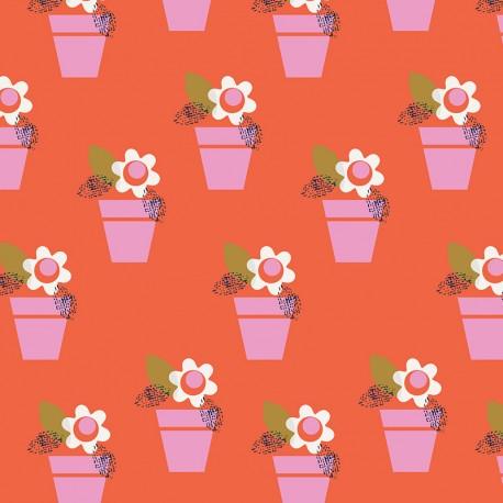 Tissu coton Dashwood Amélie fleur - red x 10cm