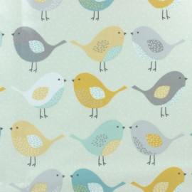 Coated cotton fabric - beige Fryett's bird x 10cm