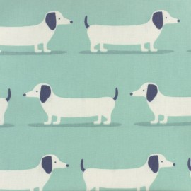Coated cotton fabric - blue Fryett's dog x 10cm