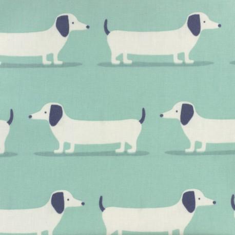Tissu coton enduit Fryett's dog - bleu x 10cm