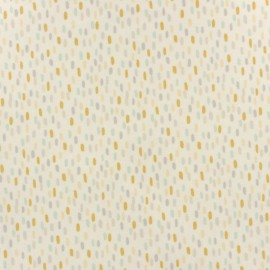 Coated cotton fabric - Off-white Dash Teal x 10cm