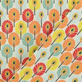 Oeko-tex cretonne cotton fabric - Multi Summer Plume de paon x 10cm