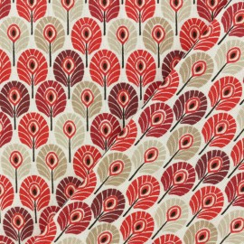 Oeko-tex cretonne cotton fabric - burgundy Plume de paon x 10cm