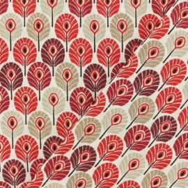 Tissu coton cretonne Plume de paon - Bordeaux x 10cm
