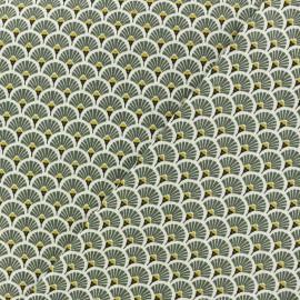 Cretonne cotton Fabric Eventails dorés - khaki green x 10cm