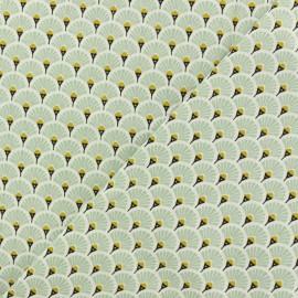 Cretonne cotton Fabric Eventails dorés - dusty mint x 10cm