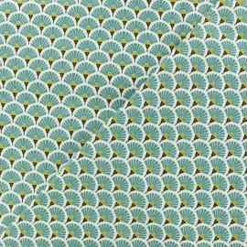 Cretonne cotton Fabric Eventails dorés - lagoon blue x 10cm