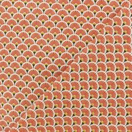 Tissu coton cretonne Eventails dorés - Terracotta x 10cm