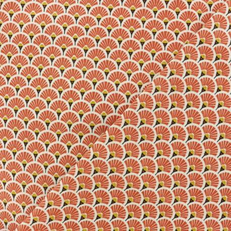 Cretonne cotton Fabric Eventails dorés - Terracotta x 10cm
